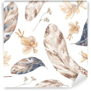 Fall Watercolor Pattern with Feathers