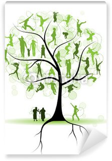 Family tree, relatives, people silhouettes Wall Mural - Vinyl