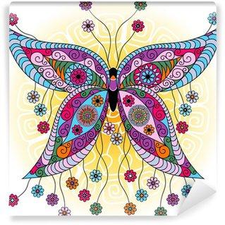 Wall Mural - Vinyl Fantasy spring vintage butterfly