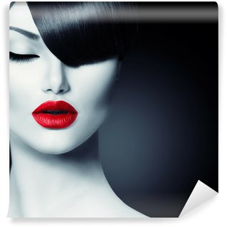 Wall Mural - Vinyl Fashion Glamour Beauty Girl With Trendy Fringe Hairstyle