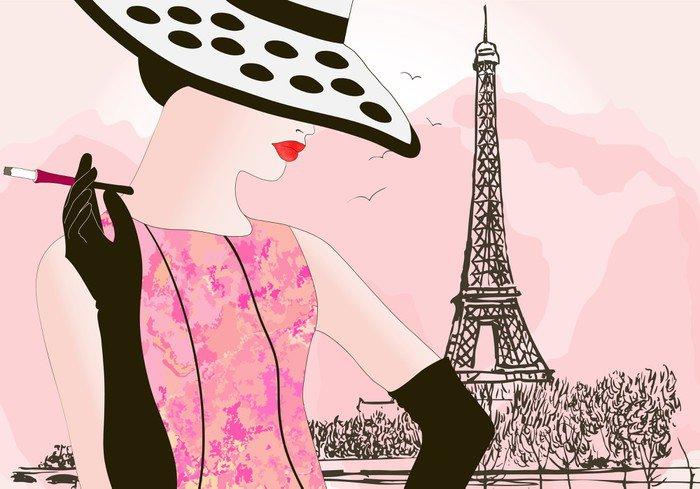 Vinyl Wall Mural fashion woman in Paris - Fashion