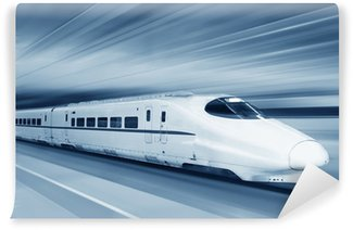 Wall Mural - Vinyl Fast train with motion blur.