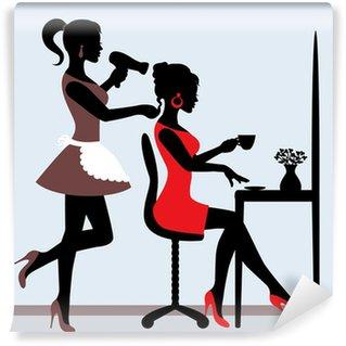 female silhouette in hairdressing salon. Wall Mural - Vinyl