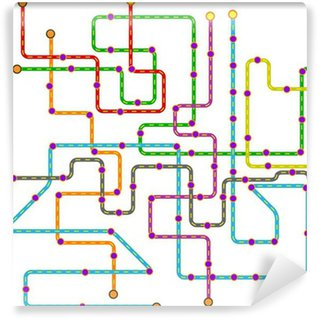 Fictional metro map in shape of heart vector illustration wall fictional public transport subway map vector illustration vinyl wall mural sciox Choice Image