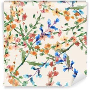 Vinyl Wall Mural Field Flowers Seamless Pattern