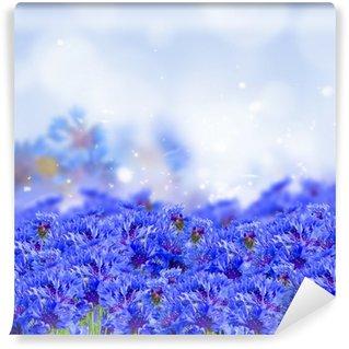 field of blue cornflowers Wall Mural - Vinyl