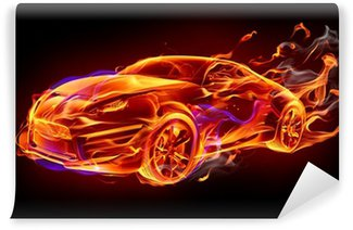 Wall Mural - Vinyl Fire car