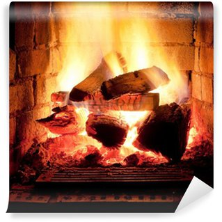 Wall Mural - Vinyl fire in fireplace