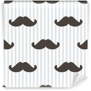 Flat design, vector hipster moustache and stripes seamless pattern background. Wall Mural - Vinyl
