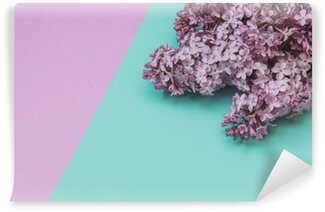 Vinyl Wall Mural Flat lay stylish set: Lilac flowers on pastel background. Top view.