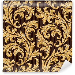 floral golden wallpaper Wall Mural - Vinyl
