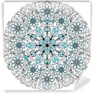 Wall Mural - Vinyl Floral lacy vintage round frame
