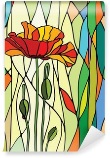 floral stained glass Wall Mural - Vinyl