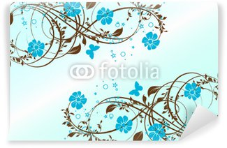 Wall Mural - Vinyl floral turquoise