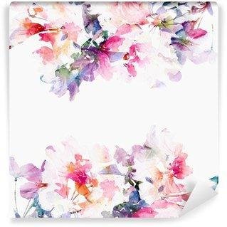 Wall Mural - Vinyl Floral watercolor background. Roses.