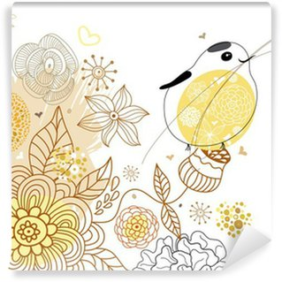 Flower background with a bird Wall Mural - Vinyl