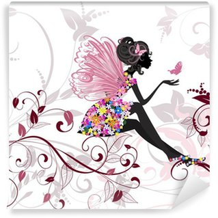 Vinyl Wall Mural Flower Fairy with butterflies