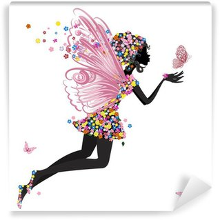 Flower Fairy with butterfly Wall Mural - Vinyl