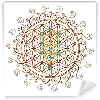 Wall Mural - Vinyl Flower of Life, Tree of Life, Kabbalah, Sephiroth