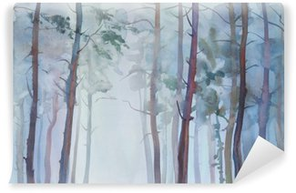 Foggy forest watercolor background Wall Mural - Vinyl