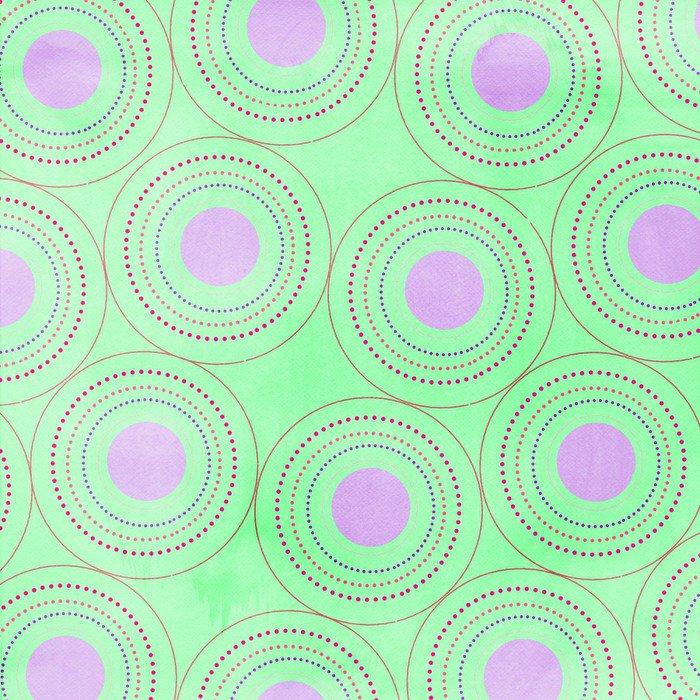 Vinyl Wall Mural fond vert,ronds roses - Themes