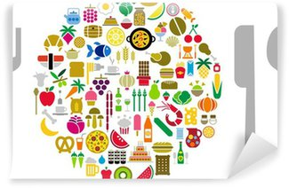 Food and beverage icons in form of sphere with silverware Wall Mural - Vinyl