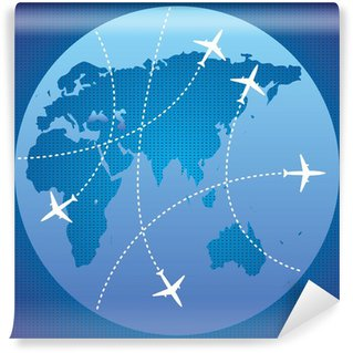 Four airplane lines and planet Wall Mural - Vinyl
