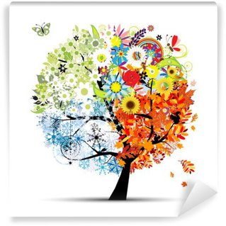 Wall Mural - Vinyl Four seasons - spring, summer, autumn, winter. Art tree