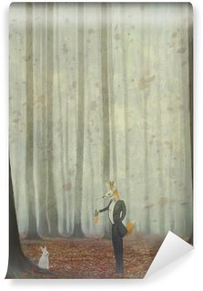 Fox and rabbit Wall Mural - Vinyl