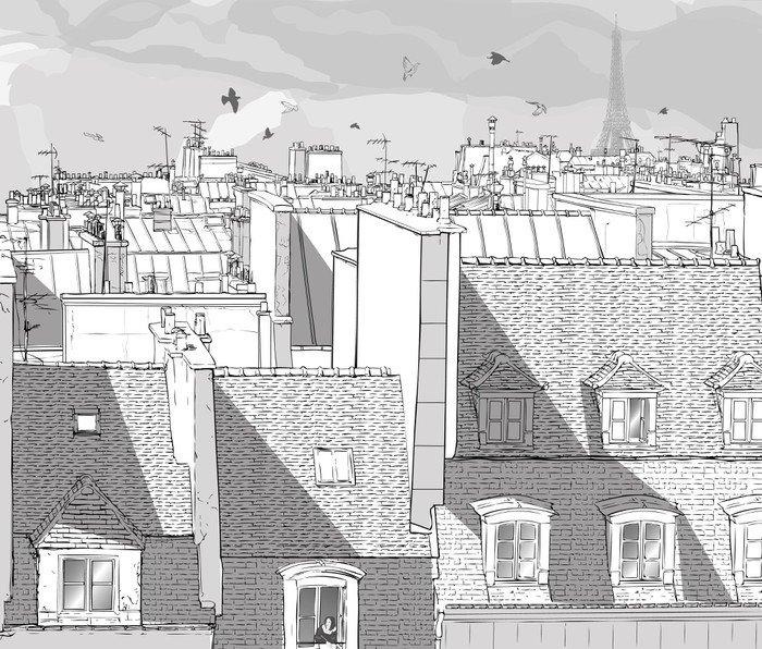 Wall Mural - Vinyl France - Paris roofs - Themes
