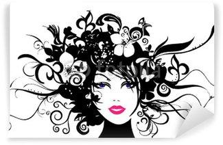 Frauenkopf mit Blüten und Ranken Wall Mural - Vinyl