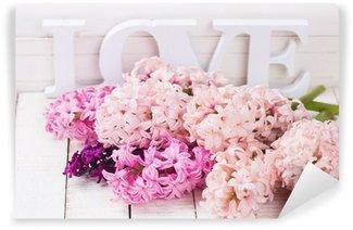 Fresh flowers and word love Wall Mural - Vinyl