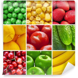 Wall Mural - Vinyl Fresh fruits and vegetables collage