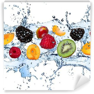Fresh fruits in water splash, isolated on white background Wall Mural - Vinyl