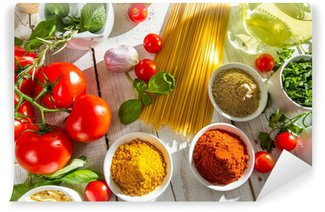 Wall Mural - Vinyl Fresh vegetables and spices in Italian cuisine
