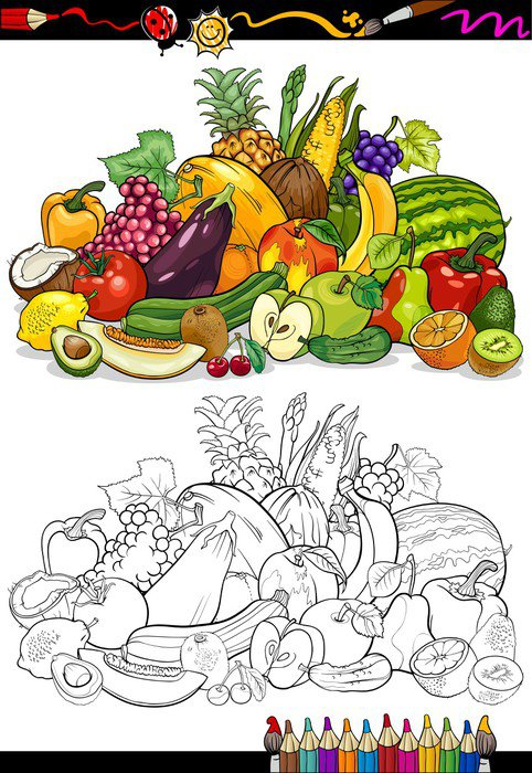Fruits And Vegetables For Coloring Book Wall Mural