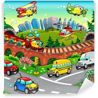 Wall Mural - Vinyl Funny vehicles in the city. Cartoon and vector illustration.