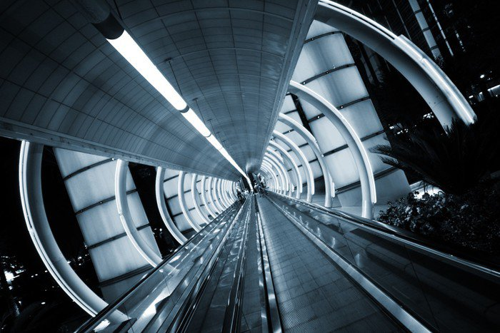 Wall Mural - Vinyl Futuristic architecture. Tunnel with moving sidewalk -