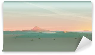 Geometric Mountain Landscape with Gradient Sky Wall Mural - Vinyl