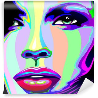 Girl's Portrait Psychedelic Rainbow-Viso Ragazza Psychedelico Wall Mural - Vinyl