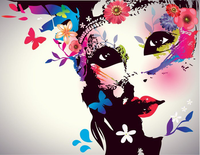 Girl with mask vector illustration wall mural vinyl for Mural vector