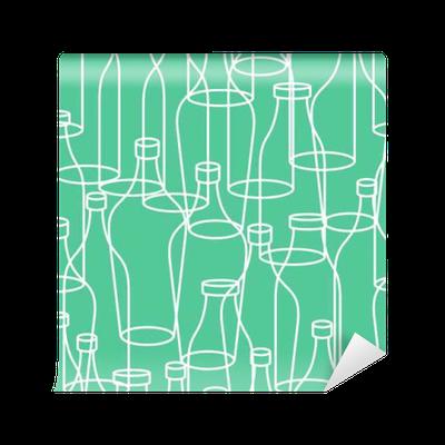 Glass bottle seamless pattern empty transparent bottles for Transparent glass wall