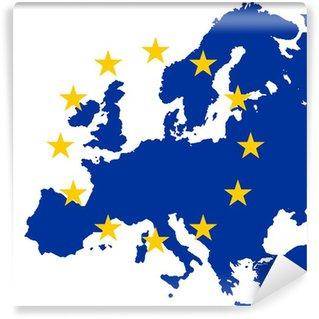 gold eu stars on map of blue europe Wall Mural - Vinyl