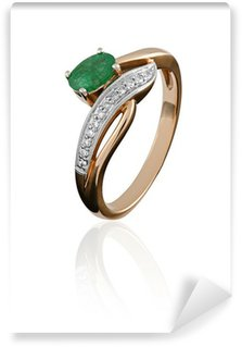 Wall Mural - Vinyl gold ring with an emerald