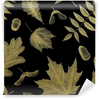 Gold vintage engraving of autumn leaves