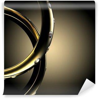 Gold Wedding Ring with diamond. Holiday symbol