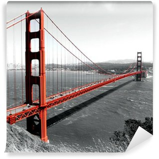 Wall Mural - Vinyl Golden Gate Bridge Red Pop on B&W