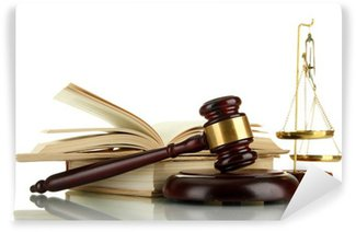 Wall Mural - Vinyl Golden scales of justice, gavel and books isolated on white