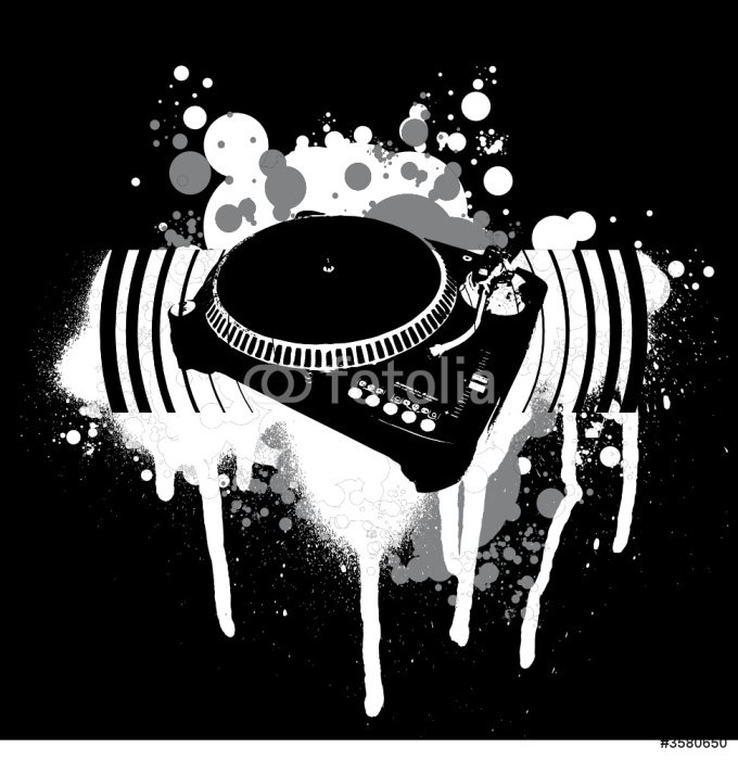 Graffiti Black and White Turntable.