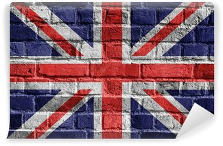Wall Mural - Vinyl Great Britain flag on brick wall